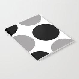 Mid Century Modern Polka Dot Pattern 9 Black and Gray Notebook