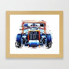 exploding pixels car Framed Art Print