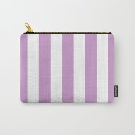 Light grayish magenta violet - solid color - white vertical lines pattern Carry-All Pouch