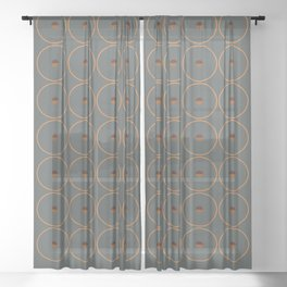 catch || anthracite & ocher Sheer Curtain