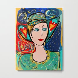 Pop Girl Art Deco with Hat and hearts Metal Print
