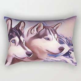 A Pair of Siberian Huskys Rectangular Pillow