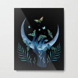 Moth Hand Metal Print
