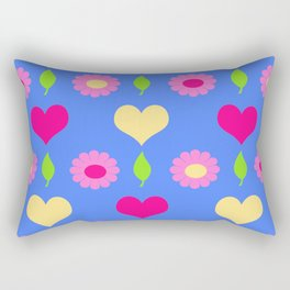 Daisy heart print, blue pink peach Rectangular Pillow
