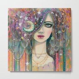 Galaxy Girl Bohemian Woman Celestial Fantasy Art by Molly Harrison Metal Print