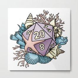 Mermaid D20 Tabletop RPG Gaming Dice Metal Print