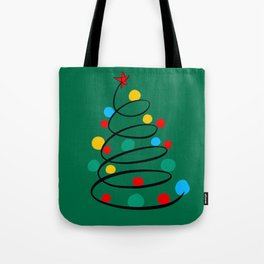 Christmas Tree Minimal Design Art Red Blue Green Tote Bag