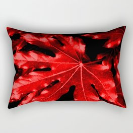 Festive Fatsia - Christmas Red Rectangular Pillow