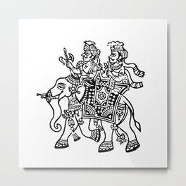 Indian block Prints - Elephant ride Metal Print