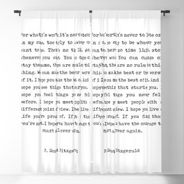 F Scott Fitzgerald Quote - For What It's Worth - Minimal, Black and White, Typewriter - Inspiring Blackout Curtain