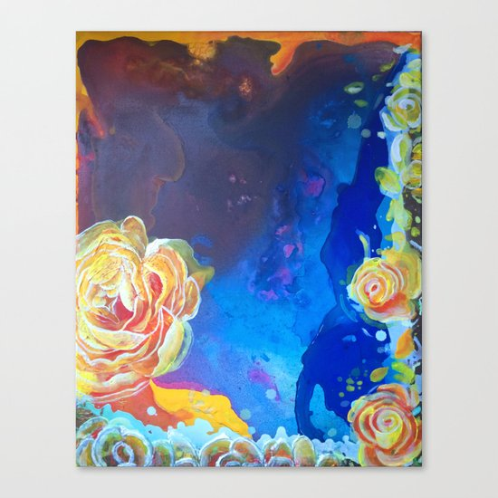 Mad Lucy's Golden Roses. Yellow Roses and Galaxy Blue. Canvas Print