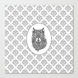 Gray & White Damasks Featuring Wolf Head Canvas Print