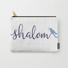 Blue Shalom With Peace Bird Carry-All Pouch