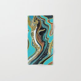 Marble Paint Texture in Gold Black and Teal Hand & Bath Towel