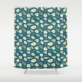 Bacon Eggs Sausages Breakfast Kitchen Food Pattern Shower Curtain