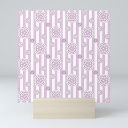 Mod Flowers in Rosy Pink and White Mini Art Print