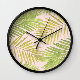 Palms Against Blush Wall Clock
