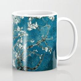 Van Gogh Almond Blossoms : Dark Teal Kaffeebecher