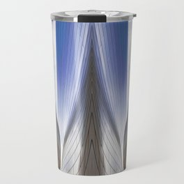 Architectural Abstract of a metal clad building looking skyward Travel Mug