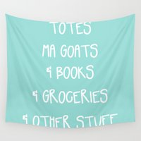 tote bag Wall Tapestries featuring Totes Ma Goats & Books & Groceries & Other Stuff Tote Bag by Corrie Jacobs