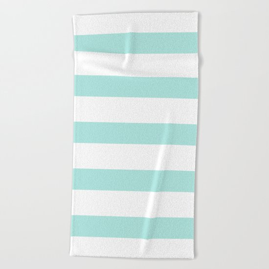 Aqua and White stripes Beach Towel
