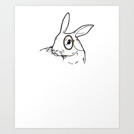 Rabbit Clipart Rabbit Line Art Bunny Wearing a Monacle Art Print