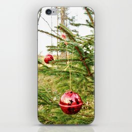 Christmas balls outdoors iPhone Skin