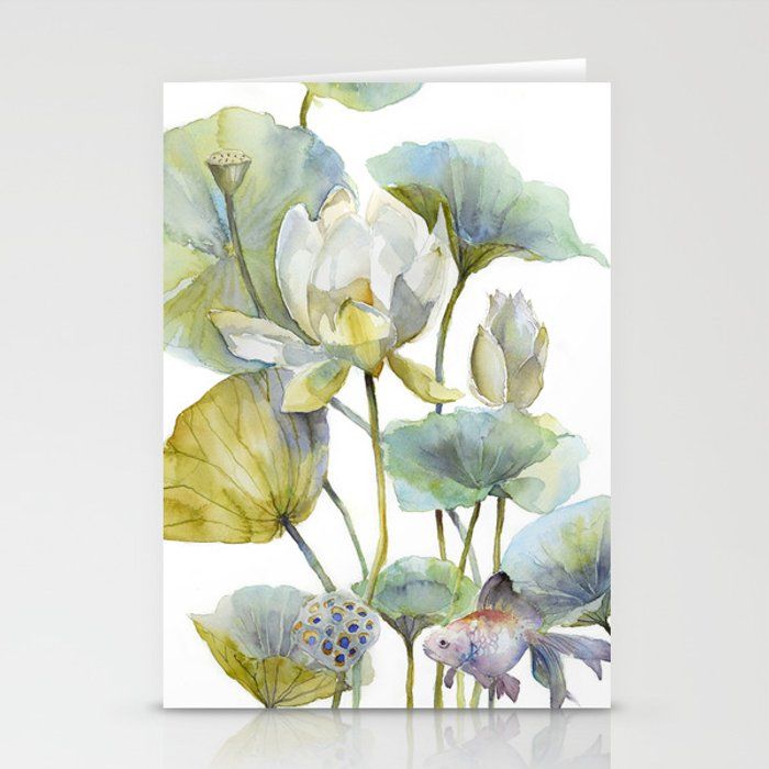 Lotus Plant and Fish Zen Design Watercolor Muted Pallet Botanical Art Stationery Cards