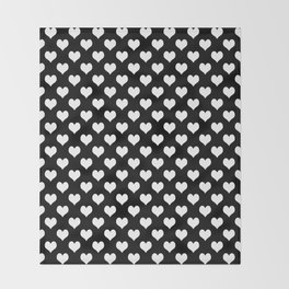 Black & White Hearts Pattern Throw Blanket