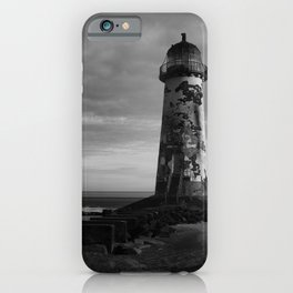 Talacre Lighthouse Black And White iPhone Case