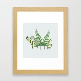 Fern Collage with Light Blue Gray Background Framed Art Print