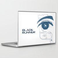 blade runner Laptop & iPad Skins featuring BLADE RUNNER (White - Voight Kampf Test Version) by Alain Bossuyt