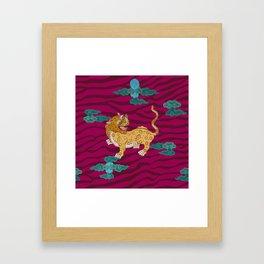 Foo Leopard on Magenta Framed Art Print