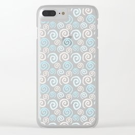 Hand Drawn Ink Swirl Pattern - Light Blue and Grey Clear iPhone Case