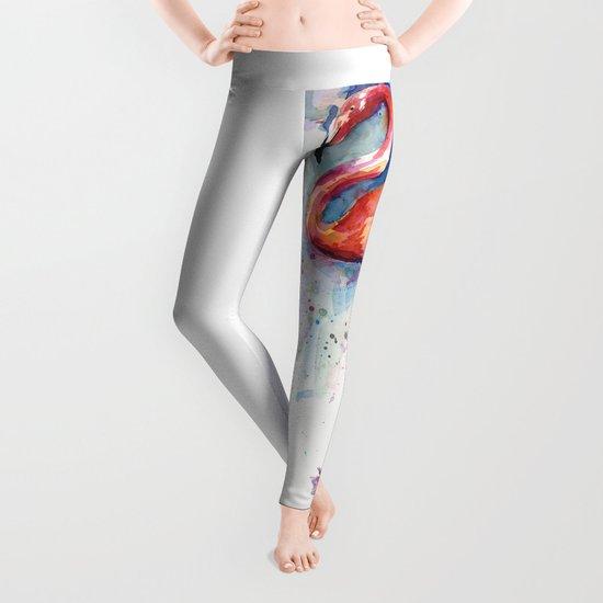 Pink Flamingo Watercolor Painting Leggings