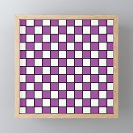 Checkered Outlined Purple and Black Framed Mini Art Print