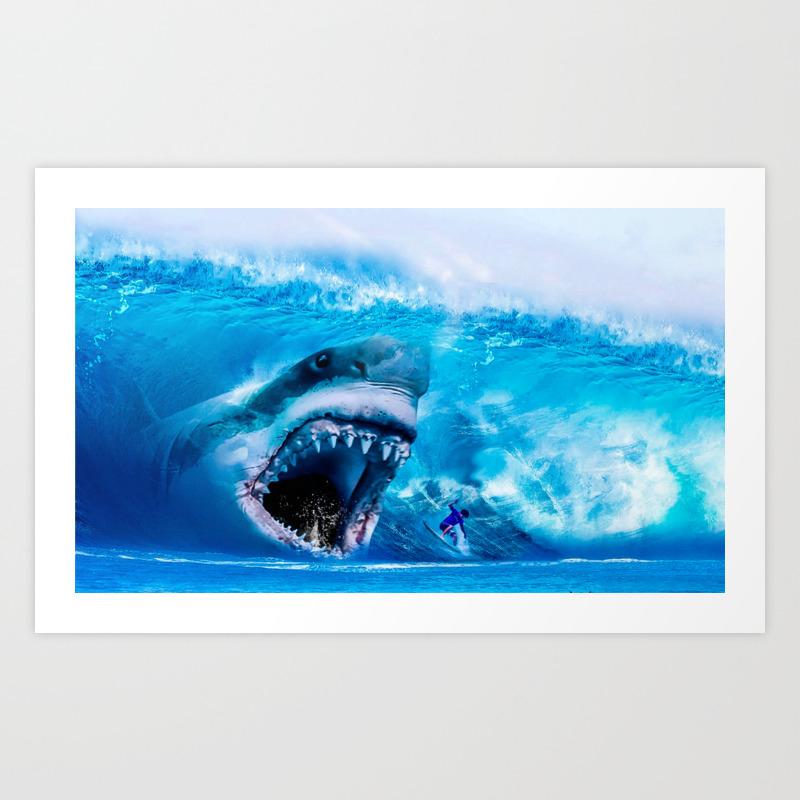 10Mb megalodon attacks surfer 10mb high resolution version art print