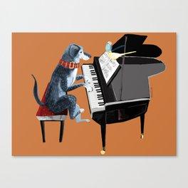 Piano lesson ( Doggy Art ) Canvas Print