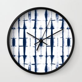 Shibori Stripes 4 Indigo Blue Wall Clock