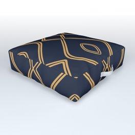 Modern Boho Ogee in Navy & Gold Outdoor Floor Cushion