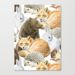 woodland animals pattern Canvas Print
