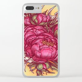 Peonies and bones Clear iPhone Case