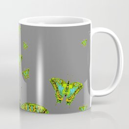 BLUE-GREEN-YELLOW PATTERNED MOTHS ON GREY Coffee Mug