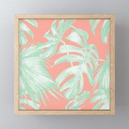 Island Love Coral Pink + Light Green Framed Mini Art Print