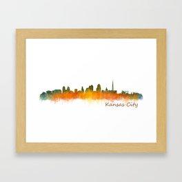 Kansas City Skyline Hq v2 Framed Art Print