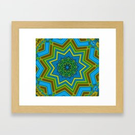 Lovely Healing Mandalas in Brilliant Colors: Blue, Yellow, Gold, and Green Framed Art Print