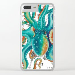 Teal Octopus Tentacles Vintage Map Nautical Clear iPhone Case