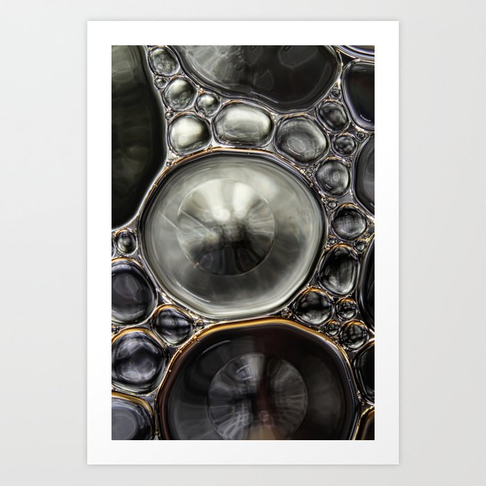 Onyx & Silver Bubble Abstract Art Print