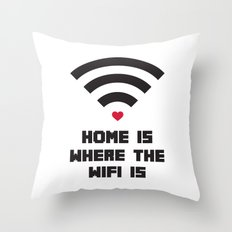 Home Where WiFi Is Funny Quote Throw Pillow