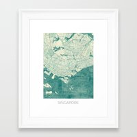singapore Framed Art Prints featuring Singapore Map Blue Vintage by City Art Posters